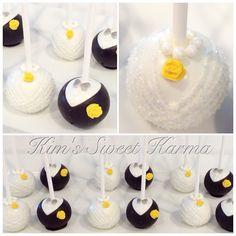 Bride and groom wedding cake pops by Kim's Sweet Karma.