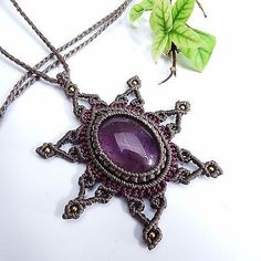 Macrame Necklace Pendant Amethyst Stone Quartz Waxed Cord Handmade Cabochon | Jewelry & Watches, Handcrafted, Artisan Jewelry, Necklaces & Pendants | eBay!