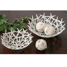 Uttermost Starfish Decorative Bowls w/spheres. Delightful, starfish design bowls with three spheres made of real seashells. Bowl Sizes: Available at Sacksteder's Interior's for home decor and interior design! Decorative Accessories, Home Accessories, Beach House Decor, Home Decor, Beach Condo, Beach Crafts, Seashell Crafts, Coastal Decor, Coastal Living