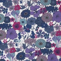 Multi-Purple/Blue Floral Printed Cotton Voile Fabric by the Yard | Mood Fabrics