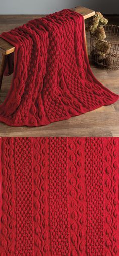 Kniting Pattern for Autumn Blaze Afghan - This throw knit in panels and seamed features leaf motifs and berry stitch texture.