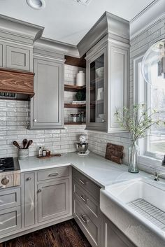 If you are looking for Farmhouse Kitchen Design Ideas, You come to the right place. Below are the Farmhouse Kitchen Design Ideas. Diy Kitchen Cabinets, Kitchen Cabinet Design, Kitchen Redo, Home Decor Kitchen, Rustic Kitchen, New Kitchen, Home Kitchens, Kitchen Designs, Kitchen Countertops
