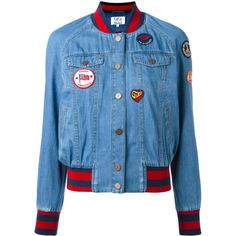Tommy Hilfiger denim bomber jacket ($326) ❤ liked on Polyvore featuring outerwear, jackets, blue, bomber style jacket, blue jackets, blouson jacket, bomber jacket and tommy hilfiger