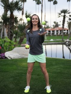 Volley long sleeve and Volley skort are perfect on court and off court.   Martina goofing around at the Fall 2015 tennis collection photo shoot.
