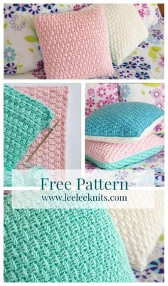 Textured Pillow Covers, free pattern from leeleeknits. Uses FPDC & BPDC. . . . ღTrish W ~ http://www.pinterest.com/trishw/ . . . #crochet