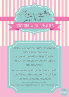 Concurso Mais Esmaltes para Você! Poste uma nail art inspirada na loja e concorra a uma cesta com 50 esmaltes!!!