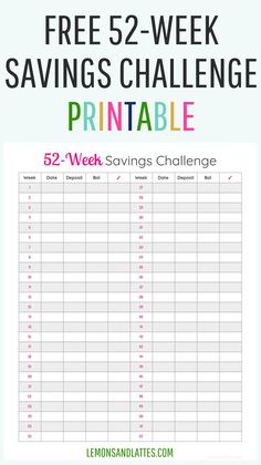 Do you have a goal to save money? The 52-week money saving challenge can help you get there! Download your free savings challenge printable. #savingmoney