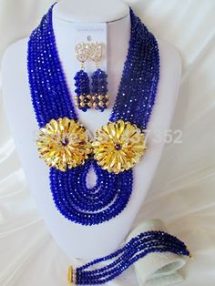 Charming New Arrived Royal Blue Crystal Beads Women Nigerian Wedding Party African Beads Jewelry Set Free Shipping CPS3903 $58.84