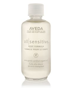 Aveda All-Sensitive™ Body Formula. Body oil for sensitive skin and scalp, aroma-free, fragrance-free. Contains Jojoba oil, Soybean oil & Vitamin E. Available @ Aveda salons and Canadian salons that sell Aveda products. #unscented #scentfree #fragrancefree