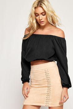 f1c0403ac8349f Alexa Bardot Long Sleeve Gypsy Boho Crop Top