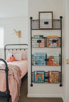Kid's bedroom ideas with shiplap wal… Cottage Style Kids' Bedroom Reveal! Kid's bedroom ideas with shiplap wall and farmhouse style decor. Kids Bedroom Storage, Kid Book Storage, Wall Storage, Kids Bedroom Organization, Bedroom Decor Kids, Storage Room Ideas, Kids Bedroom Furniture, Organizing Toddler Rooms, Storage Ideas For Kids