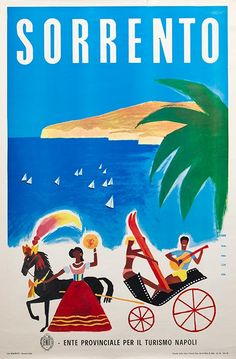 Sorrento Italia . Vintage travel seaside poster