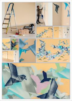 Origami Birds Wall Art. #Montana #origami #art #wallart #spray #origamibirds #birds #graffiti #3dart