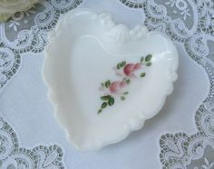 The Pink Rose Cottage - Vintage Hand Painted Pink Roses Heart Shaped Milk Glass Trinket Dish