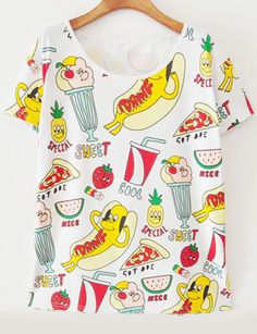 White Short Sleeve Ice Cream Print Loose T-Shirt - abaday.com