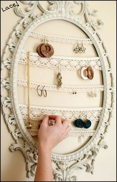 DIY organization for jewelry -- make it pretty with lace