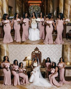 Bridesmaid dresses - Image may contain 12 people, people standing, wedding and indoor Wedding Bridesmaid Dresses, Brides And Bridesmaids, Dream Wedding Dresses, Black Bridesmaids, African Bridesmaid Dresses, Bridal Dresses, Wedding Goals, Wedding Pics, Wedding Ideas
