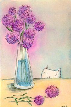 Original 4x6 Painting -- Purple flower vase on Etsy, $75.00