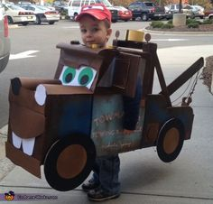 Homemade Tow Mater Costume ...had to pin this! Reminds me of grandson, Josh, when he was younger, with one of his favorite things :)