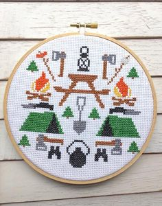 """This DIY KIT features the June 2016 RagTagBox.com cross stitch pattern, CAMPING!Finished, this piece will measure 6"""".Skill Level: IntermediateKit Includes:Suppl"""