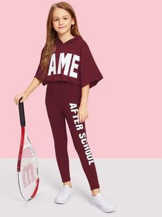 Girls Letter Graphic One Side Leggings Preteen Girls Fashion, Girls Fashion Clothes, Girl Fashion, Fashion Outfits, Cute Girl Outfits, Kids Outfits Girls, Cute Outfits For Kids, Girls In Leggings, Girls Pants