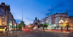 O' Connell Street And Dublin Spire At Night Print by Barry O Carroll Light Trails, Dublin City, Popular Photography, Before Sunrise, Dublin Ireland, Photo Location, Wide Angle, First Photo, Fine Art America