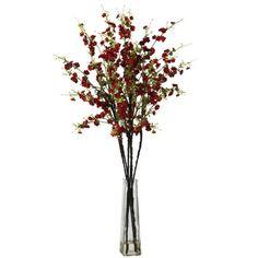 Red Cherry Blossoms w/Vase Silk Flower Arrangement