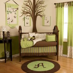 Another Green Brown And White Nursery Idea