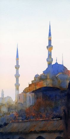 : The Blue Mosque by Michael Reardon.in a limited palette of permanent orange and cobalt blue The Blue Mosque by Michael Reardon.in a limited palette of permanent orange and cobalt blue Watercolor City, Watercolor Sketch, Watercolor Landscape, Watercolor Paintings, Watercolors, Michael Reardon, Watercolor Architecture, Blue Mosque, Urban Sketching