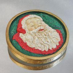 Vintage Santa Brooch. Red. Green. White. Christmas Pin. by waalaa