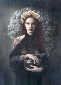 *black with flower headdress is unusual to me