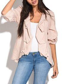 This Pink Drape-Collar Linen Jacket - Women is perfect! #zulilyfinds