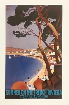 1930s French Riviera Print - Framed Large (White)