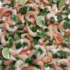 Cilantro Garlic Lime Shrimp  In a taco… on a salad…or…stuffed in an avocado…add this to your weeknight rotation!  Simple Directions:  SERVES 4  Preheat oven to 375 degrees In a large bowl combine:  1 lb large raw shrimp peeled & deveined, tails on(rinsed & pat dry) 2 Tbsp olive or melted coconut oil 1 bunch coarse chopped cilantro leaves The Juice of 2 limes 4 cloves minced garlic 1 tsp sea salt Combine all ingredients, lay on flat baking sheet pan. Bake 10-11 minutes in your preheated 375…