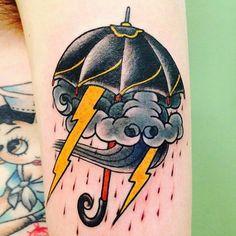 American Traditional Tattoo Umbrella | Old school style tattoo - american arm tattoo on TattooChief.com