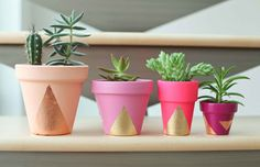 Geometrical terracota pots. This link shows how to do this with gold leaf and terracota pots, but you can do just the same with any old pots you want to beautify (inlcuding the ugly plastic ones!)! The gold can be paint, too.