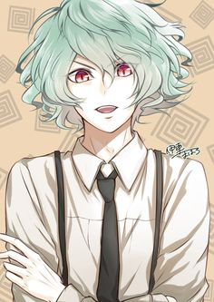 If his eyes were gold, this would look just like him! Manga Drawing, Manga Art, Green Hair, Green Eyes, Anime Love, Anime Guys, Anime Guy Blue Hair, Heaven And Hell, 7 Deadly Sins