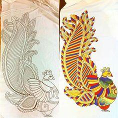 Saree Painting, Kalamkari Painting, Kerala Mural Painting, Fabric Painting, Madhubani Paintings Peacock, Peacock Painting, Madhubani Art, Peacock Embroidery Designs, Folk Embroidery