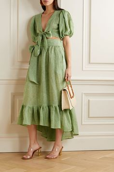 Green and white linen-gauze Ties at front linen, polyamide Dry clean Linen Dresses, Casual Dresses, Fashion Dresses, Summer Dresses, Linen Skirt, Look Fashion, Womens Fashion, Fashion Design, Lady Like