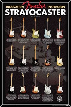 Aquarius Fender Stratocaster Evolution Poster, 24 by A perfect gift for any fan of the classic American electric guitar, the Fender Stratocaster. This beautiful x inch paper poster is suitable for framing and offers a less expensive wall art alternative. Music Guitar, Guitar Chords, Cool Guitar, Playing Guitar, Learning Guitar, Guitar Art, Art Music, Fender Bass Guitar, Fender Guitars