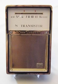 "Vintage Ross Supreme Deluxe 8-Transistor Radio, No Model Number on Label Inside Radio, ""Blades"" with Reverse Paint Made in Japan."