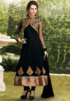 Natasha Couture - Shop with confidence from the exclusive collection of Indian Designer Women Clothing. We offer wedding lehenga, bridal lehenga, wedding sarees and anarkali suits online in India and Worldwide. Black Salwar Kameez, Anarkali Dress, Anarkali Churidar, Anarkali Suits, Black Anarkali, Shalwar Kameez, Pakistani Outfits, Indian Outfits, Indian Clothes