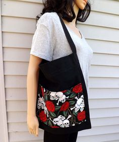 Skull and Roses Tote with Pocket Market Beach Bag by ALittleGeeky