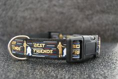 """For every Star Wars fan's pup! Bring some of the magic home with these adorable, durable dog collars for your furry best friend! Proudly hand-made in Canada with quality products: durable (yet soft and comfortable) nylon webbing, nickel-plated welded D-rings, heavy duty side-release buckles, optional safety reflectors available on buckles, and thick, printed grosgrain ribbon that will withstand many washings and dips in the lake/pool. **Medium is made from 1"""" wide, 1.9mm nylon webbing.  ..."""