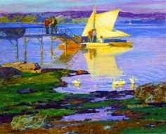 Boat at Dock, Edward Potthast, Private collection, oil on canvas