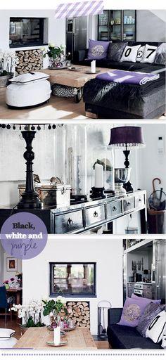 black,white and purple