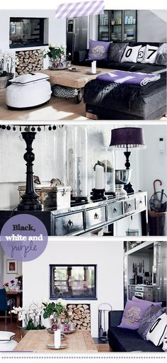 black, white and purple, working with these colors for our bedroom!