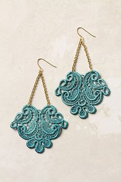 Lace Trapeze Earrings - crochet and a little help from the Michaels jewlery making dept ? :)