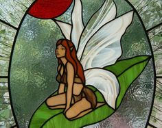 Yellow stained glass fairy por LorinsStainedGlass en Etsy