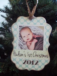 Baby's First Christmas Ornament, Wooden Christmas Ornament, Wood, Decoupage, Baby Christmas Keepsake, Personalized with Photo Ornament